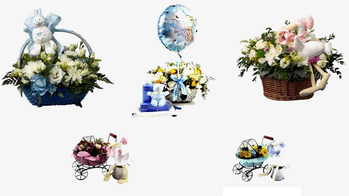 Ramos de flores para nascimentos de meninos e meninas